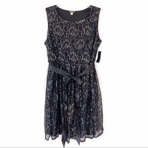 Haani Tie Waist Lace Flare Dress Black Silver NWT